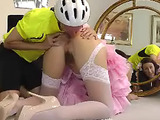 Horny brunette mom in sexy white stockings getting her ass stimulated by a bike rider