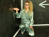 Curly blondie in glasses getting high spreading slime over her combo