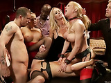 Two big-titted blondies in nylons and shinju getting punished and banged hard in public