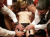 Poor girls getting applied various bdsm tools for bad torture and fucking at the party