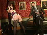 Ponytialed encage brunette gal in stockings getting jeered and fucked badly