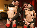 Blonde and brunette chicks in stockings first get tortured with pins and ropes before hard bdsm fucking