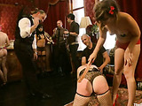 Poor enslaved gals get bound and suspended for bad tortures and hard bdsm fucking in public
