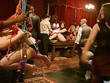 Bound and suspended slave-girls getting punished and fucked with bdsm tools