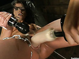 Hardcore machine sex as hot looking horny girl fucks machine cock to orgasm