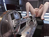 Kinky horny chick gets her sweet pussy banged hard by automated fucking cocks