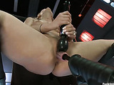 Cute babe spreads her sexy legs to get hammered hard and fast by cock machines