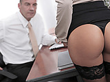 Amazing brunette secretary in nylons and high heels seduces her boss to sex in the office