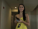 Enticing brunette in cute yellow dress strips and gets real sexy and naughty