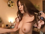 Wild Japanese hottie in stockings and skirt gets her tight butthole fingered before penetration