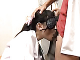 Blindfolded Japanese teen in school uniform gives a deepthroat