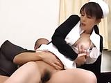 Shy Japanese nurse in a black jacket sucking a schlong kneeling