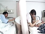 Dude gets horny while cute Asian nurse serving his neighbor and seduces her to sex