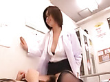 Dirty Japanese doctor in glasses and stockings jumping on a stiff rod of her patient