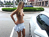 Teen girl in a rose top rubbing her slit in the car and then allows to fuck her