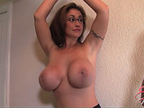 MILF in glasses and skirt with huge boobs gets suspended and tickled