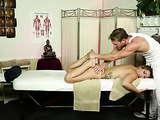 Fair-haired tattooed girl gets mouthfucked by a horny massagist unexpectedly