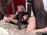 Two horny black guys handling blonde and brunette chicks in club outfits