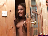 Small-titted brunette bitch gagging with two cocks before double penetration