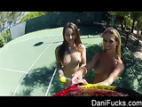 Mischievous blonde and brunette girls play tennis in shorts skirts topless