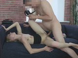 Lovely small-titted chick gives head before dirty doggy style on cam