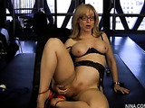 Cherry slutty milf in black lingerie and red heels use sex toys to drill pussy