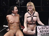 Sexy chick with sexy small tits gets pounded with strap-on and toys by sexy milf