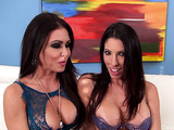 Two bodacious brunettes both in blue lingerie teaming a dick and then sharing jizz