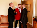 Bearded red gay and his lover both in suits meet a bald dude and get sloppy threesome gay fuck