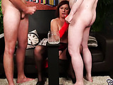 Hot cougar with large breasts wearing red skirt, black stockings with suspenders and high heels, sits on a black couch then sucks and wanks a cock while another naked dude jacks off beside her.