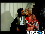 Horny dude handling hot blonde retro chick in various positions