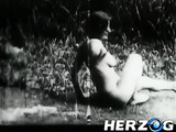 Retro chicks in black and white with natural big juggs and hairy twat pounded variously