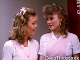 Two nasty retro nurses and a bride in sloppy banging with the patient