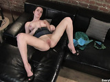 Awesome solo from long-haired brunette with ass and cunt stimulating with toys