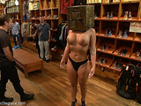 Boobed blondie gets humiliated and fucked roughly in the garment store