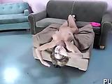 Busty blondie wearing stripped socks is a flexible little fox