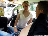 Horny taxi driver fucks a blonde gal in the car